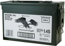 Federal 223 Rem Ammunition American Eagle AE223BL 5AC 55 Grain Full Metal Jacket Ammo Can 500 rounds