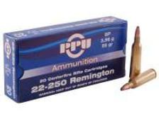 Prvi PPU 22-250 Rem Ammunition 55 Grain Soft Point 20 Rounds