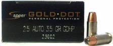 Speer 25 ACP Gold Dot CCI23602 35 Grain Jacketed Hollow Point 20 rounds