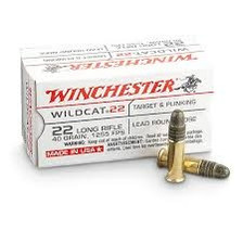 Winchester 22LR Ammunition Wildcat WW22LR 40 Grain Lead Round Nose 50 Rounds