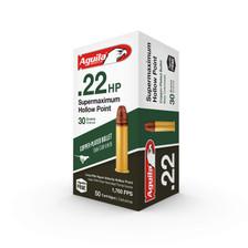 Aguila 22LR Ammunition 1B222297 Supermaximum Hyper Velocity 30 Grain Copper Plated Hollow Point Brass Casings 50 rounds
