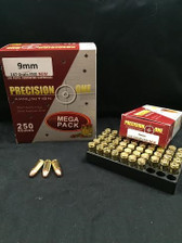Precision One 9mm Ammunition REMAN 147 Grain Full Metal Jacket Subsonic 250 rounds