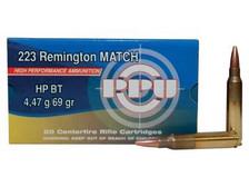 Prvi PPU 223 Rem Match Ammunition PP57 69 Grain Boat Tail Hollow Point 20 Rounds
