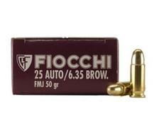 Fiocchi 25 Auto Ammunition FI25AP 50 Grain Full Metal Jacket 50 rounds