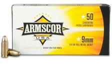 Armscor 9mm Ammunition 124 Grain Full Metal Jacket 50 rounds