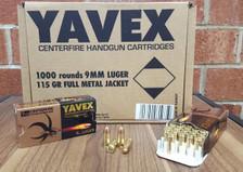 Yavex 9mm Ammunition 115 Grain Full Metal Jacket CASE 1,000 rounds