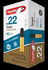 Aguila 22LR Ammunition Target Competition 40 Grain Lead Round Nose 50 rounds