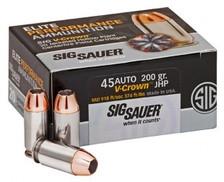 Sig Sauer 45 Auto Ammunition V-Crown E45AP1-20 200 Grain Jacketed Hollow Point 20 rounds