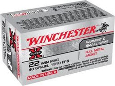 Winchester 22 WMR Ammunition Super-X X22M 40 Grain Full Metal Jacket Case of 2000 Rounds