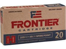 Hornady 223 Remington Military Grade Ammunition Frontier FR120 55 Grain Hornady Spire Point 20 Rounds