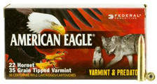 Federal 22 Hornet Ammunition American Eagle AE22H35TVP 35 Grain Tipped Varmint Jacketed Hollow Point 50 Rounds