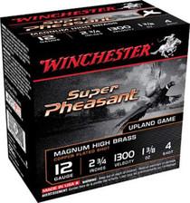 "Winchester 12 Gauge Ammunition Super Pheasant X12PHV4 2-3/4"" 1-3/8oz 4 shot 1450fps 25 rounds"