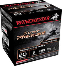 "Winchester 20 Gauge Ammunition Super Pheasant Plated HV X203PH4 3"" 1-1/4oz 4 shot 1250fps 25 rounds"