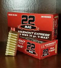 Hornady 22 WMR Ammunition 832022 30 Grain V-Max Case of 2000 Rounds