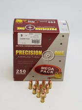 Precision One 9mm Ammunition PONE896 147 Grain Flat Point Competition Load *Remanufactured* 250 Rounds