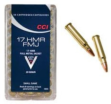 CCI 17 HMR Ammunition 0055 Small Game 20 Grain Full Metal Jacket Case of 2000 Rounds