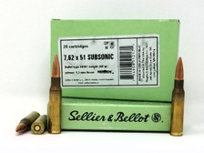 Sellier & Bellot 308 Win Ammunition SB308SUBA 200 Grain Hollow Point Boat Tail Subsonic 20 Rounds