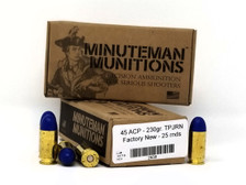 Minuteman Munitions 45 ACP Ammunition Factory New 230 Grain Poly Jacketed Round Nose 25 Rounds