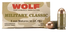 Wolf 9x18mm **Makarov** (NOT LUGER)  Ammunition Military Classic 94 Grain Full Metal Jacket 50 Rounds