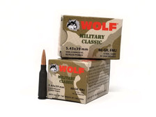 Wolf 5.45x39 Ammunition Military Classic 60 Grain Full Metal Jacket Case of 750 Rounds