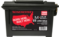 Winchester 22 LR Ammunition S22LRTPB 40 Grain Black Copper Plated Round Nose Ammo Can of 2000 Rounds