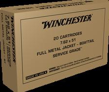 Winchester 7.62x51mm NATO Ammunition Service Grade SG76251W 147 Grain Full Metal Jacket 20 Rounds