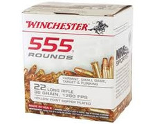 Winchester 22 LR Ammunition USA 22LR555HP 36 Grain Copper Plated Hollow Point Case of 5550 Rounds