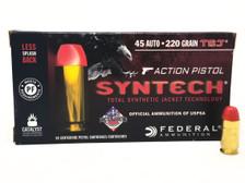 Federal 45 ACP Ammunition Syntech Action Pistol AE45JAP1 220 Grain Total Syntech Jacket Flat Nose 50 Rounds