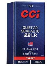 CCI 22 LR Ammunition Quiet-22 Semi-Auto 975CC 45 Grain Lead Round Nose 50 Rounds