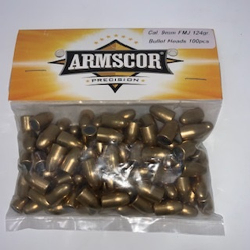 Armscor 9mm Reloading Bullets 52391 124 Grain Full Metal Jacket 100 Pieces