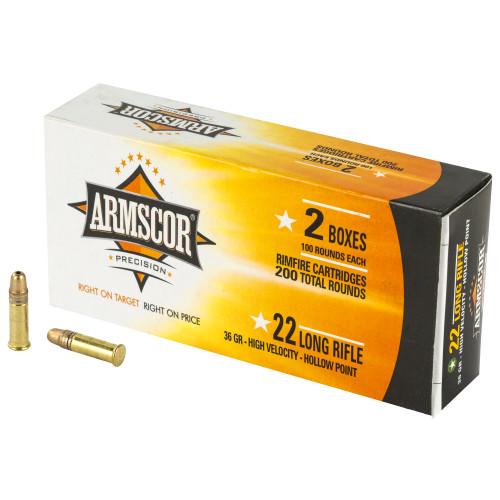Armscor 22 LR Ammunition 50321 36 Grain Hollow Point CASE 2200 Rounds