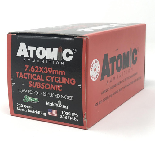 Atomic Ammunition 7.62x39mm Tactical Cycling Subsonic 00474 220 Grain Hollow Point 50 Rounds