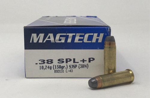 Magtech 38 Special +P Ammunition 38N 158 Grain Semi Jacketed Soft Point  Flat Nose 50 Rounds