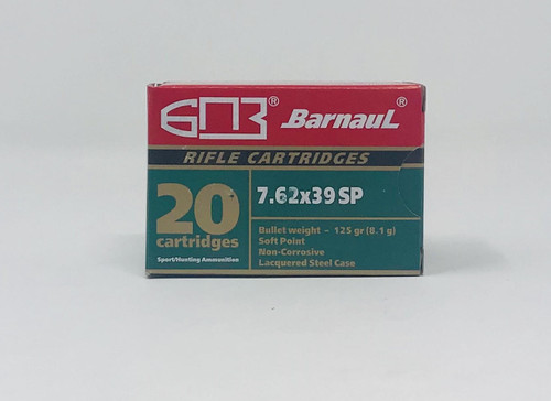 Barnaul 7.62x39mm Ammunition 125 Grain Soft Point Steel Cased 20 Rounds
