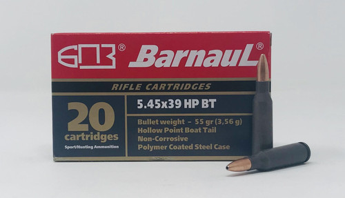 Barnaul 5.45x39mm Ammunition 55 Grain Hollow Point Steel Cased 20 Rounds