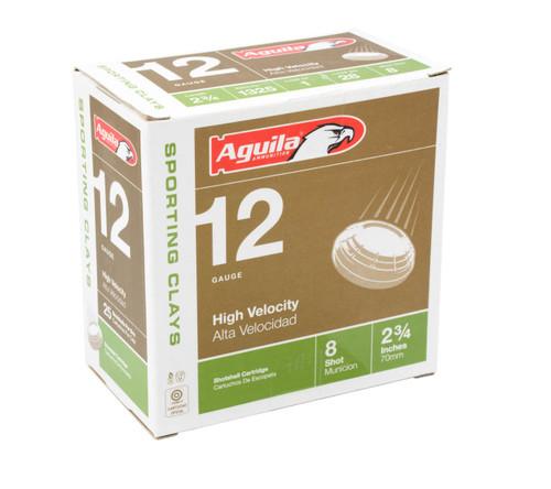 "Aguila 12 Gauge Ammunition 1CHB1286 2 3/4"" 1oz HV sporting 1325 Fps #8 Shot Case 250 Rounds"