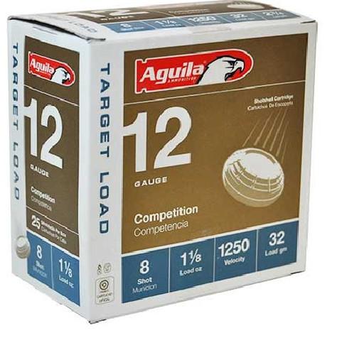 """Aguila 12 Gauge Ammunition 1CHB1348CASE Competition 2-3/4"""" 1-1/8oz #8 Shot 1250 fps CASE 250 Rounds"""