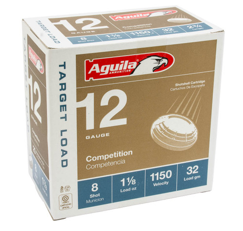 """Aguila 12 Gauge Ammunition 1CHB1280CASE 2 3/4"""" 1 1/8oz #8 Shot 1150 Fps Case 250 Rounds"""