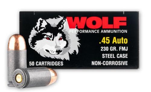 Wolf 45 ACP Ammunition 230 Grain Full Metal Jacket Case 500 Rounds