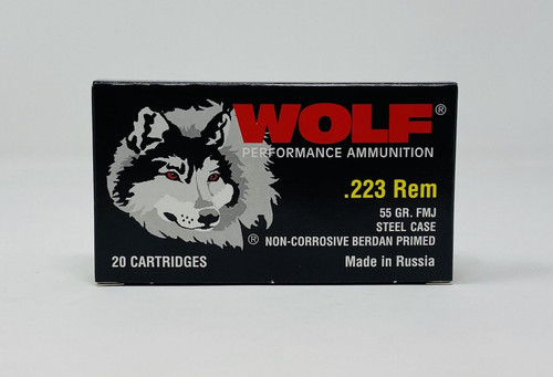 Wolf 223 Rem Ammunition Performance 55 Grain Full Metal Jacket 20 Rounds