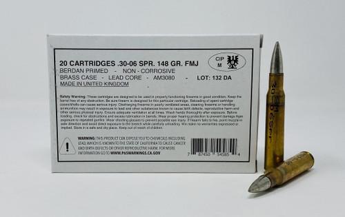Surplus United Kingdom Sportwaffen .30-06 Ammunition AM3080 148 Grain FMJ Case 1000 Rounds