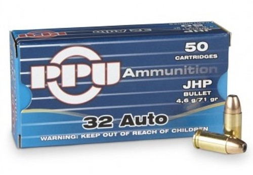 Prvi PPU 32 ACP Ammunition Defense PPD32A 71 Grain Jacketed Hollow Point 50 Rounds