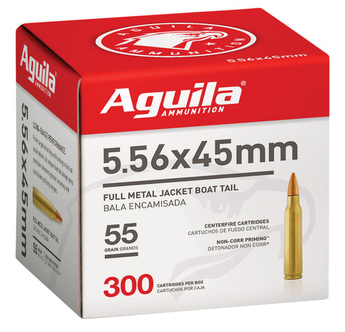 Aguila 5.56x45mm NATO Ammunition 1E556126 55 Grain Full Metal Jacket Boat Tail Bulk Pack 300 Rounds