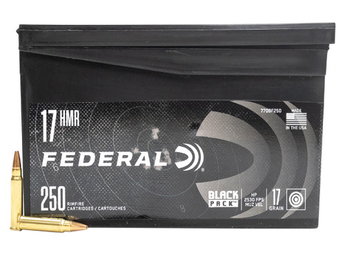 Federal 17 HMR Ammunition Black Pack F770BF250 17 Grain Hollow Point CASE 1250 Rounds