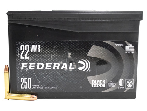 Federal 22 WMR Ammunition Black Pack 737BF250 40 Grain Full Metal Jacket 250 Rounds