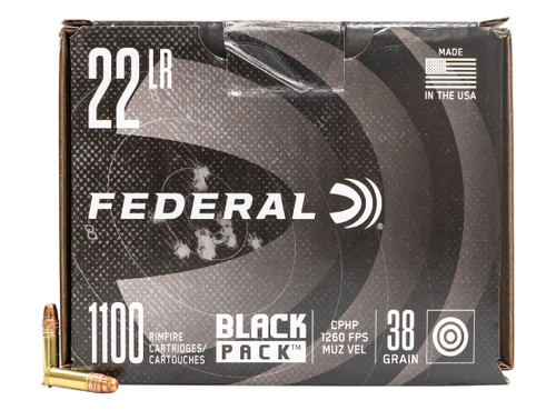 Federal 22 LR Ammunition Black Pack 788BF1100 38 Grain Hollow Point 1100 Rounds