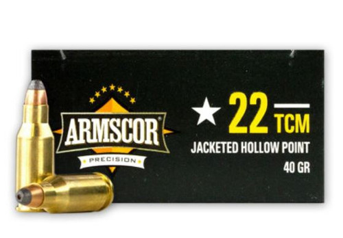 Armscor 22 TCM Ammunition 50326 40 Grain Jacketed Hollow Point CASE 1200 Rounds
