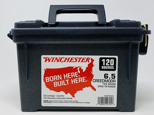 Winchester 6.5mm Creedmoor USA65CMAC 125 Grain Hollow Point Ammo Can 120 Rounds