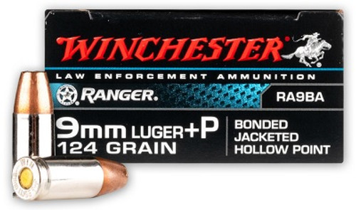 Winchester 9mm Ammunition RA9BA Ranger 124 Grain Bonded Jacketed Hollow Point 50 Rounds