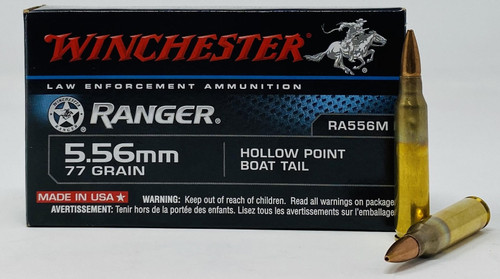 Winchester 5.56x45mm Ammunition RA556M Ranger 77 Grain Match Boat Tail Hollow Point 20 Rounds